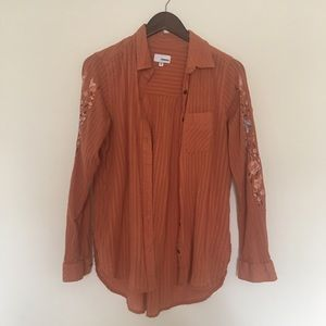 Orange embroidered button down shirt